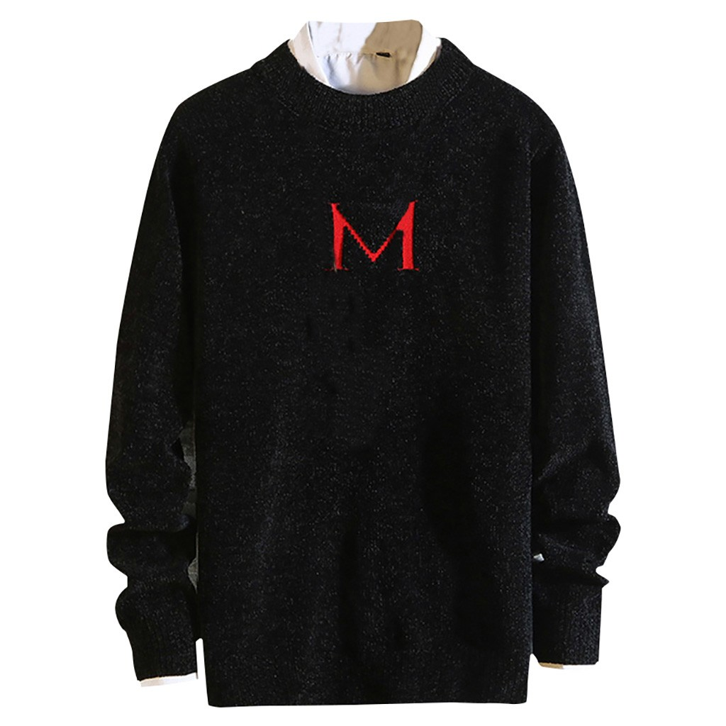 Womail  Letter Printing Long Sleeve Sweater Pullover Autumn Winter Casual Long Sleeve Sweater Knitt O-Neck Men Pullover Sweaters