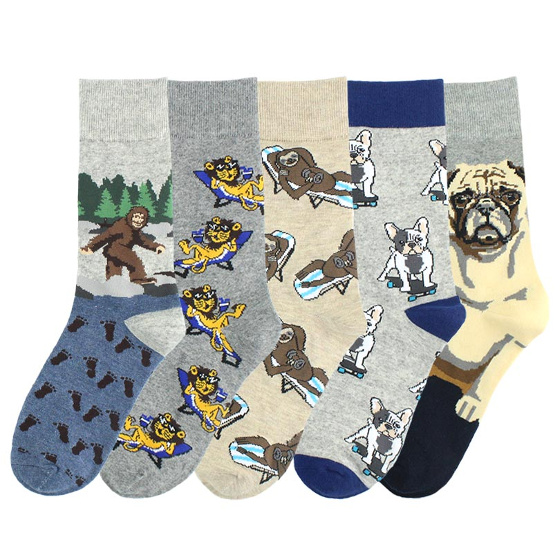[SOPLCAALCK]Novelty Animal Funny Socks Men Wedding Gift Creative Men Socks Pug Orangutans Sloth Calcetines Hombre Divertido Crew