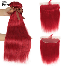 Remy Forte Straight Hair Bundles With Closure Red Frontal Brazilian Weave 3/4