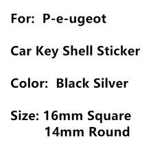 Décalcomanies métalliques 3D pour clés de voiture de Peugeot, rondes ou carrées de 14mm ou 16mm, badges autocollants avec emblème et symbole, 5 pièces