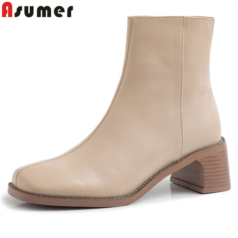 ASUMER Winter Boots Fashion Shoes Women High-Heels Autumn Genuine-Leather Ladies Ankle
