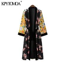 KPYTOMOA Women 2020 Fashion Patchwork Velvet With Belt Kimon