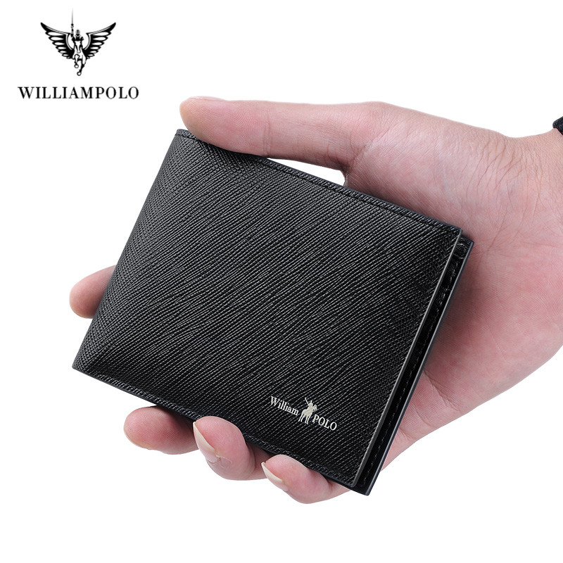 2019 Luxury Brand Wallets Men 100% Cowhide Short Bifold Mini Genuine Leather Purse Cards Holders Slots Potable Small