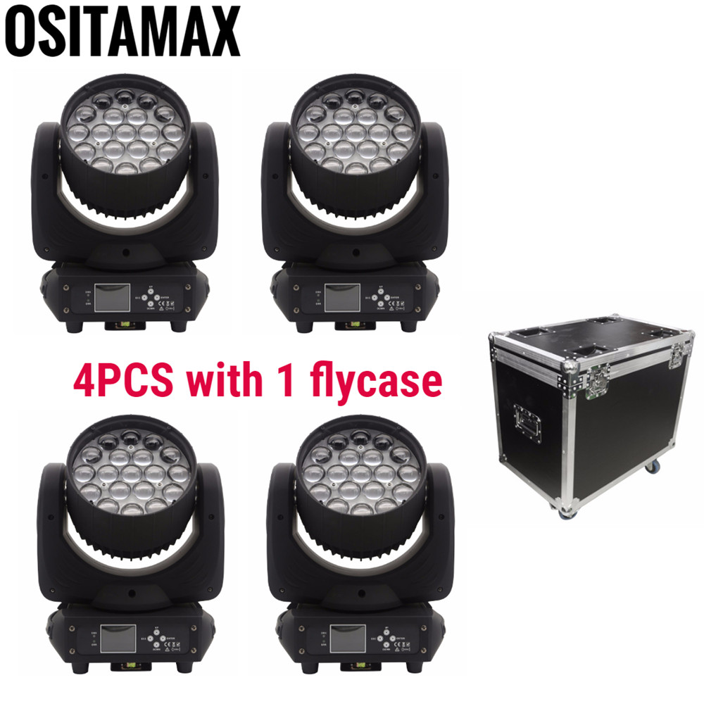 4 шт. + f светильник чехол Lyre светодиодный 19x15 Вт RGBW 4в1 Zoom Moving Head светодиодный светильник для мытья яркости красочный стробоскоп звук для
