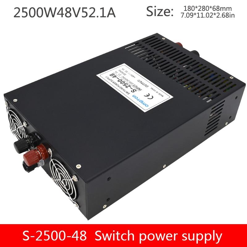 Avec affichage 2500W haute puissance alimentation à découpage 48V transformateur S-2500-48V52A contrôle industriel surveillance alimentation