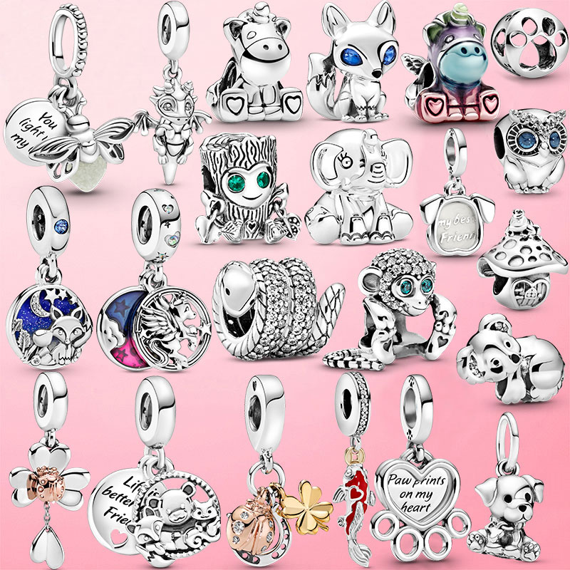 Animal Collection 925 Sterling Silver Pave Monkey Charm Beads fit Original Pandora Bracelet Bangle DIY Silver 925 Jewelry Making
