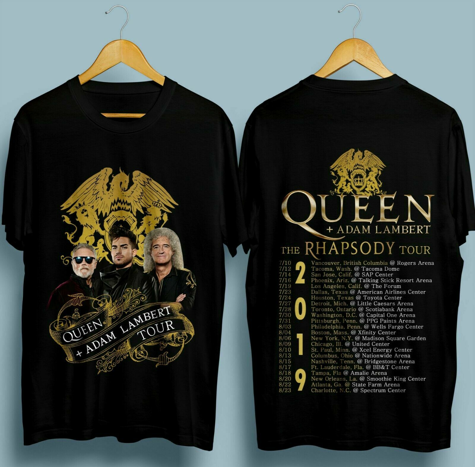 Adam Lambert 2019 Rhapsody Tour Black T-Shirt Size S M L XL 2XL 3XL Queen