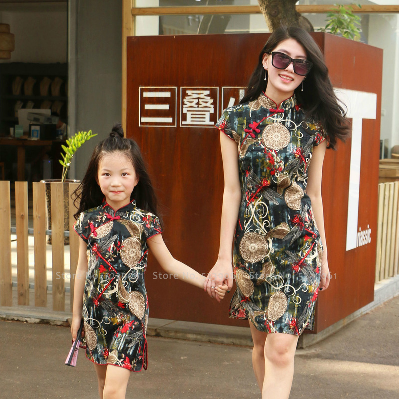 Women Girl Chinese Style Qipao Cheongsam Mother Daughter Traditional Hanfu Tang Suit Kids Party Wedding Dress Cosplay Costumes