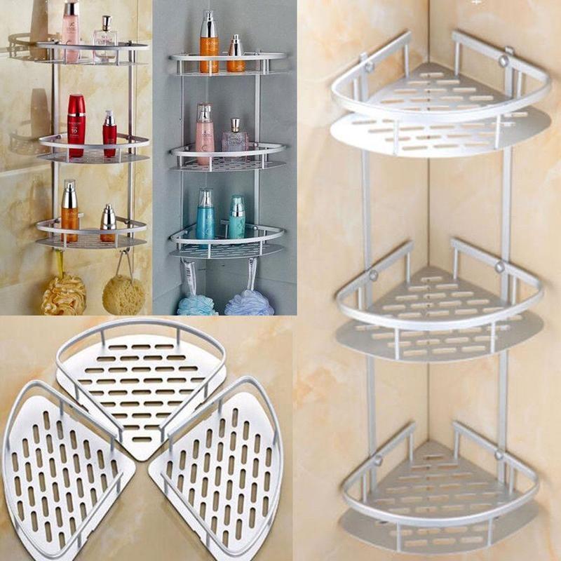 New Double/three Layer Triangle Bathroom Shelf Shower Shelves Alloy Storage Soap Shampoo Aluminum Rack Holder Organizer Cos N1Q6