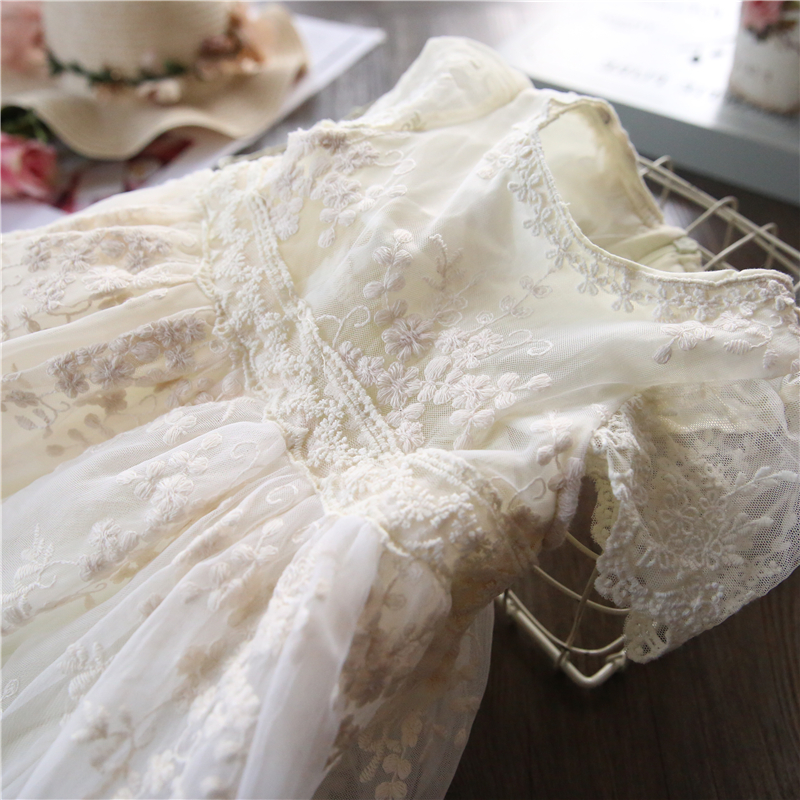 H1100fa2f1ebf494a9142ed439527508eA Children Girls Embroidery Clothing Wedding Evening Flower Girl Dress Princess Party Pageant Lace tulle Gown Kid Girls Clothes