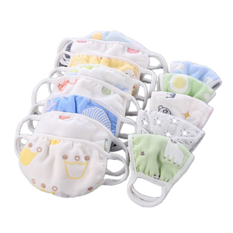 Children's Masks Cotton 6 Layers Of Gauze To Keep Warm Kids Anti Virus Mask Random Color