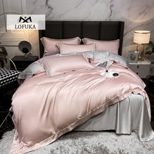 Lofuka Luxury Top Grade 100% Silk Women Pink Bedding Set Beauty Duvet Cover Pillowcase Queen King Flat Sheet Or Fitted Sheet