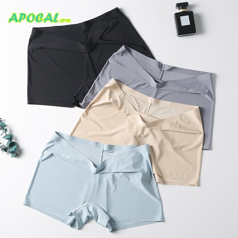 APOCAL Seamless Ice Silk Women's Safety Short Pants Ladies Knickers Underwear Woman Comfort Panties Woman Safety Pants Boyshorts