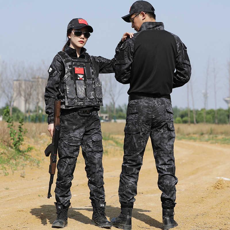 Zwarte Python Militair Uniform Tactical Combat Vest Shirt Leger Kleding Airsoft Cs Jacht Kleding Mannen Vrouwen Broek Kniebeschermers