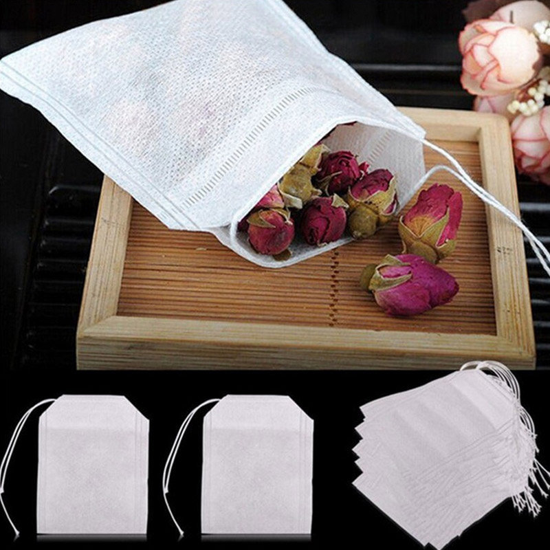 100 шт чайных пакетиков для чайных пакетиков, заварных пакетиков с ниткой, зажимного уплотнения 5,5x7 см, пакетики для пакетиков с фильтром, бум...