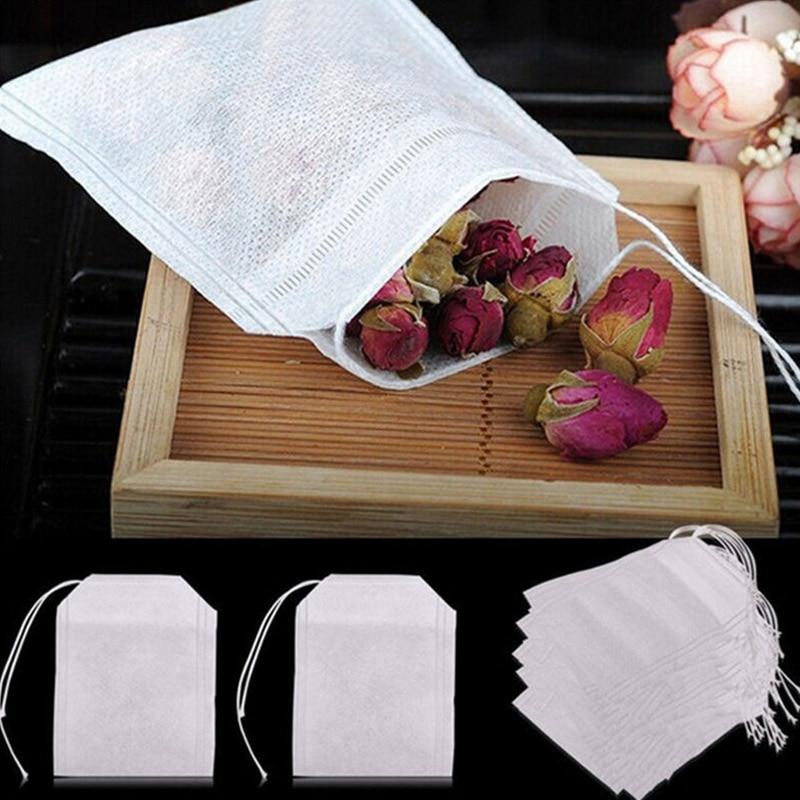100 Pcs Teh Tas Untuk Kantong Teh Infuser Dengan Tali Menyembuhkan Segel 5.5x7CM Sachet Kertas Filter teh celup Teh Kosong Tas