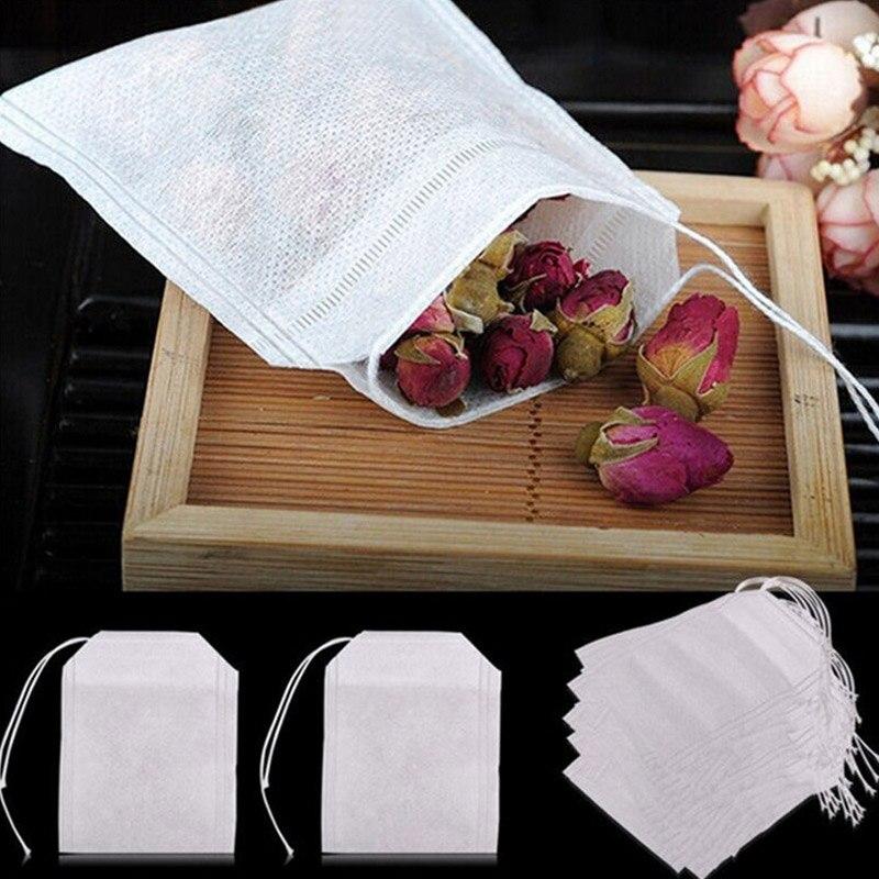 100 Pcs Teh Tas untuk Kantong Teh Infuser dengan Tali Menyembuhkan Segel 5.5X7 Cm Sachet Kertas Filter teh Celup Teh Kosong Tas