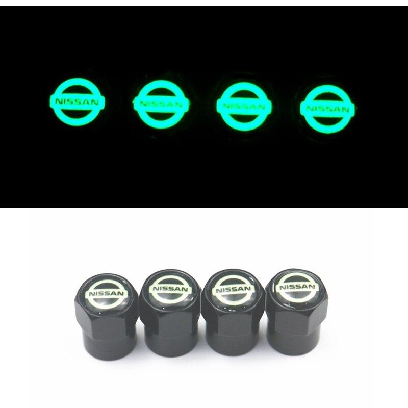 Luminous Car Styling Auto Emblem AIR VALVE CAP Case For Nissan Nismo X-trail Almera Qashqai Tiida Teana Skyline Juke Accessories