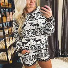 Costumes Top-Shorts Homewear Long-Sleeve Print Fashion Women Warm Winter And Autumn Pajamas-Set
