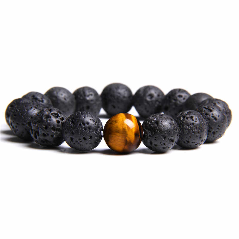 Black Lava Natural Stone Beads Bracelets for Women Vintage Design Volcanic Rock Tiger Eye Bead Strand Bracelet Men Jewelry Gifts
