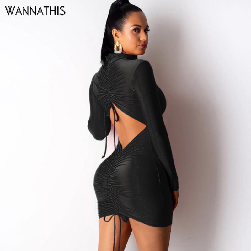 WannaThis Sexy Women Mini Dresses Backless Hollow Out Drawstring Solid Long Sleeve Hight Neck Elastic Skinny Solid Party Dresses in Dresses from Women 39 s Clothing