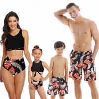 Mutter Tochter Passenden Badeanzüge Mama Und Mich Bikini Kleidung Familie Aussehen Badeanzug Vater Sohn Strand Shorts Bademode