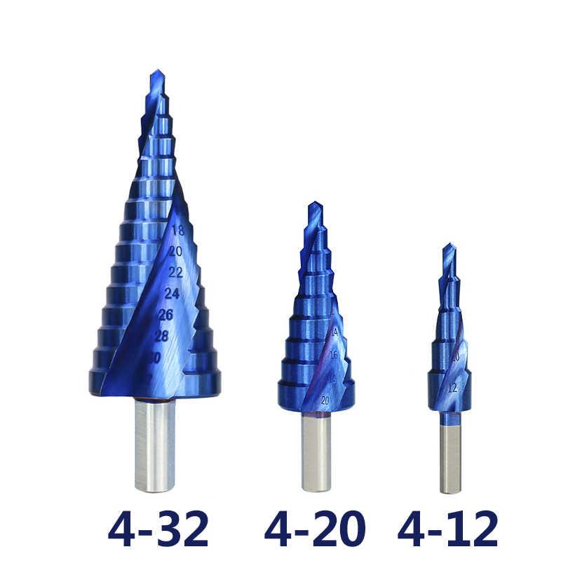 XCAN خطوة الحفر 3 قطعة 4-12/20/32 مللي متر HSS دوامة مخدد حفر كربيد من الصلب بت P6M5 سوبر الأزرق طلاء نانو خطوة مخروط مثقاب