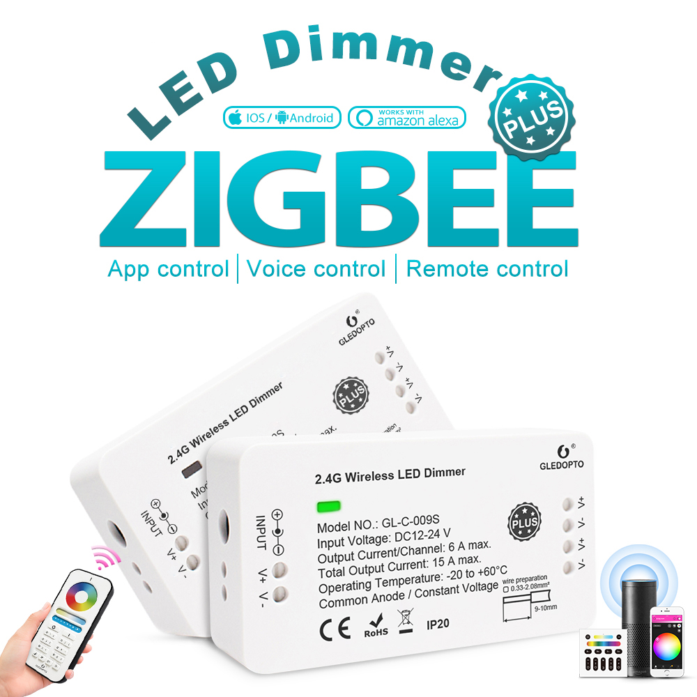 ZIGBEE Dimmer Controller Plus,for LED Strip,DC12V/24V,Smart Speaker,mobile Phone,remote Control,Panel Control