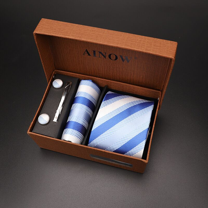Набор галстуков 4 шт. мужской цветочный галстук для шеи клетчатый галстук подарок свадебный красный полосатый 8 см темно-синий жаккардовый тканый черный однотонный Камуфляжный ящик - Цвет: NO box 21