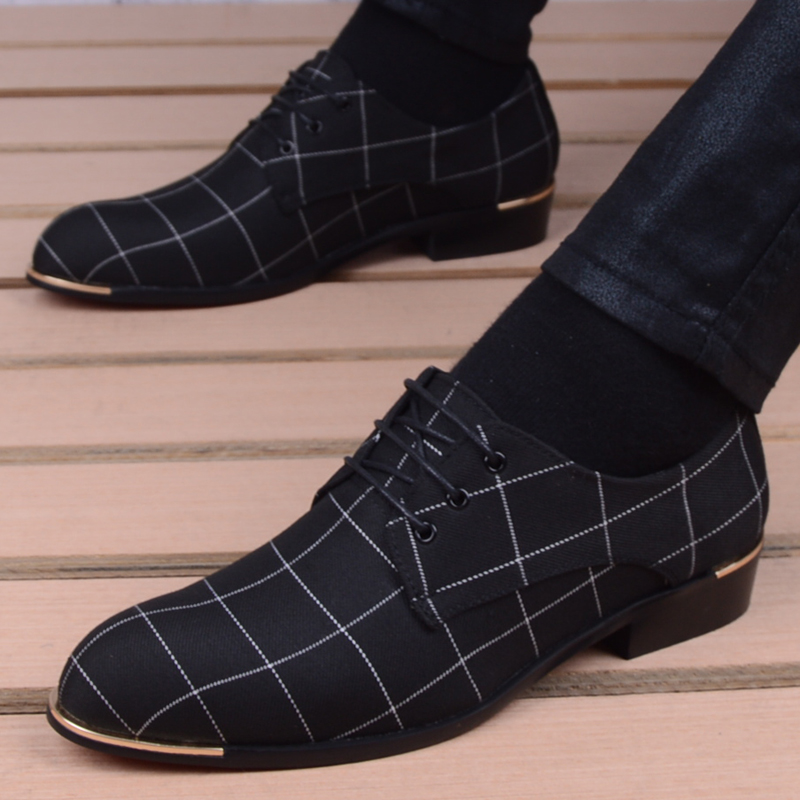 Men Shoes Classic Business Men's Dress Shoes Fashion Korea Pointed Toe Lace-Up Formal Wedding Shoes Men Black Sapatos Masculino