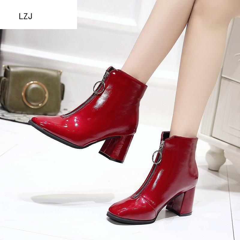 LZJ Brand Zipper Boots Woman Front Big Open Botas Mid-Calf Botines Winter Thick High Heels Patent Leather Martin Booties 2019