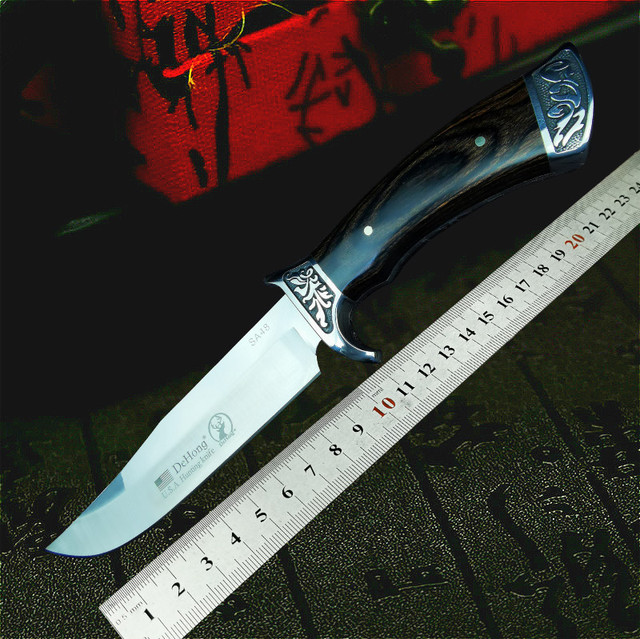PEGASI  U.S.A(DEHONG )SA48 hunting straight blade rescue knife camping straight blade Mirror light  tactical knife 5
