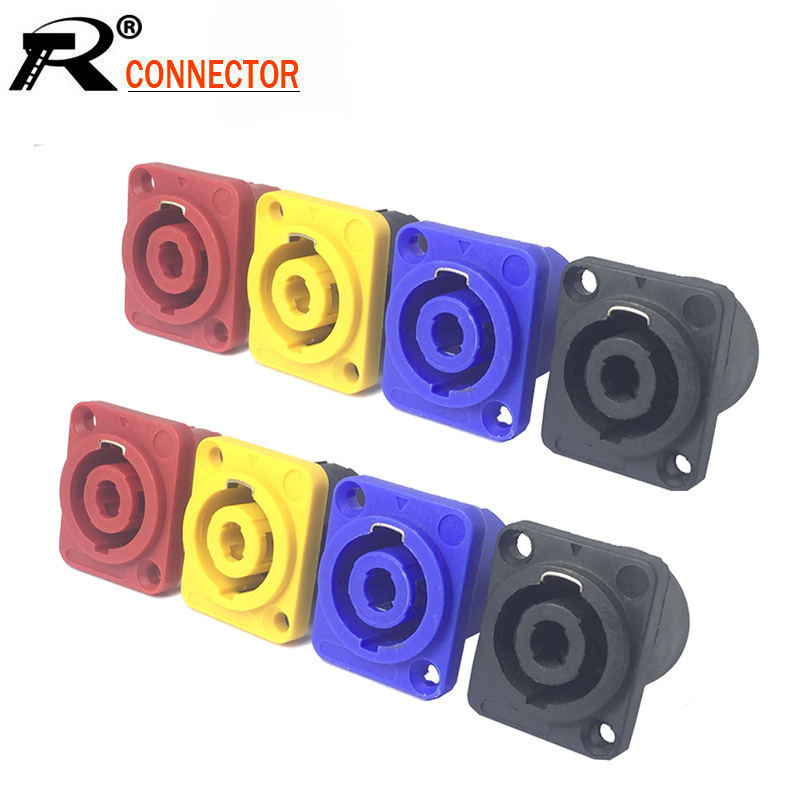 10pcs 4 Pin Speakon Panel Mount 4 Poles Powercon Female Jack Socket Connector Power Connector Chassis 4 Pin Powercon