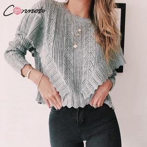 Image 1 - Conmoto, женские осенние зимние вязаные свитера, модные вязанные пуловеры, 2019, женские джемперы с оборками и длинным рукавом, топы