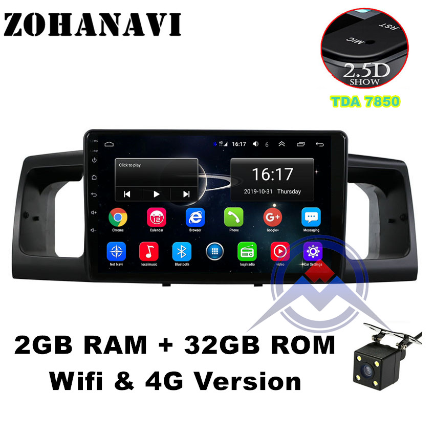 ZOHANAVI 2.5D Screen Android 9.0 car multimedia player dvd GPS auto Radio for toyota Corolla E120 e 120 BYD F3 WIFI stereo