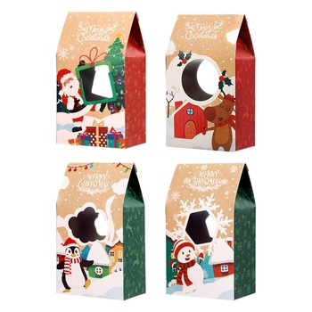 16 sztuk ciasteczka świąteczne pudełka wysokiej jakości pudełka papierowe Kraft 4 wzory pudełka cukierków pudełka na świąteczne bankiety tanie i dobre opinie NICEXMAS CN (pochodzenie) Hemoton Christmas Cookie Boxes Torebki na prezenty i Świeczki