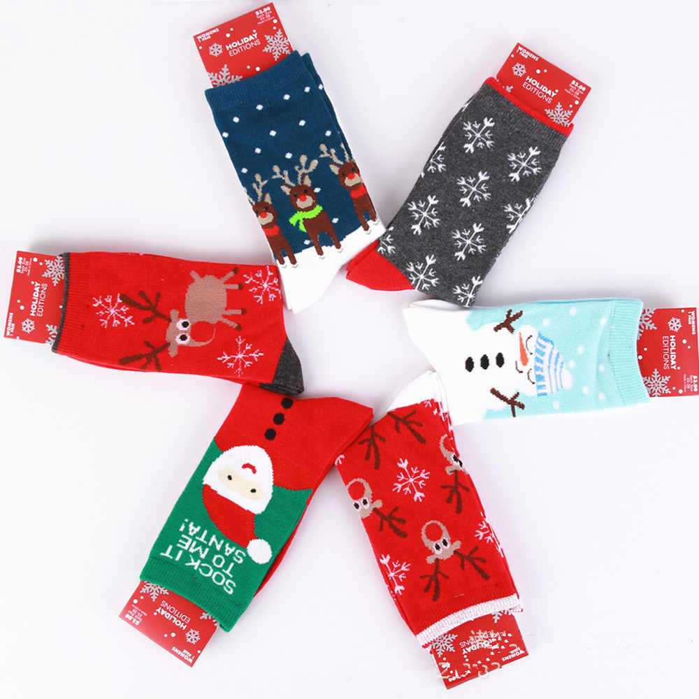 Christmas Stocking Noel 1Pair Cotton Santa Claus Snowman Socks Christmas Decorations for Home Christmas Gifts New Year Gift 2020