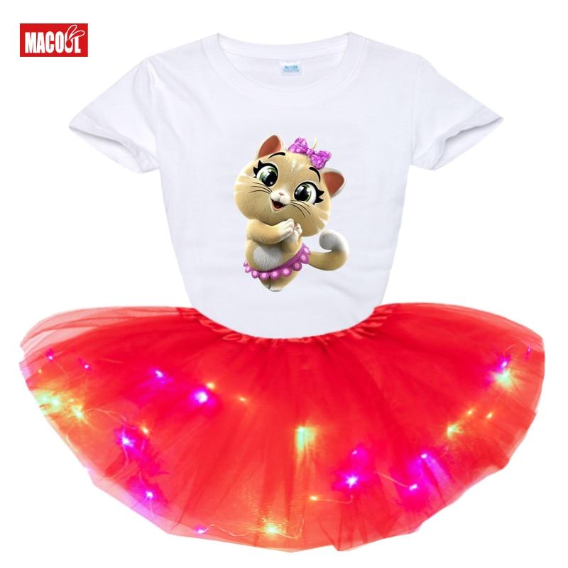 Girls Star Luminous Skirt Set Summer T Shirt Kids Dress Clothes Outfits 44 Cat New 2Pcs Suit Tutu Dress Light Birthday Present