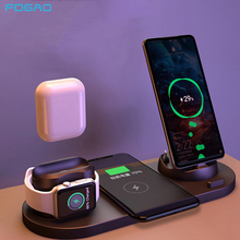 6 in 1 Qi Wireless Charger Dock Station for iPhone 11 Pro XS XR X 8 Samsung S20 S10 Android Type-C USB 10W Fast Charging Bracket