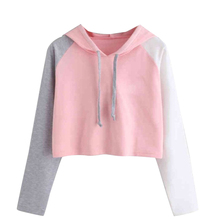 Womens Long Sleeve Color Matching Hoodie Sweatshirt Autumn Casual Loose Hooded Pullover Crop Tops Women's Fashion Sweatshirt цена и фото