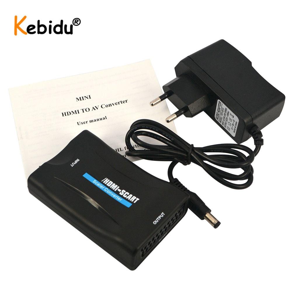 Kebidu 1080P HDMI-совместимый для SCART Видео Аудио высококлассный преобразователь HD приемник для телефона ТВ с адаптером питания