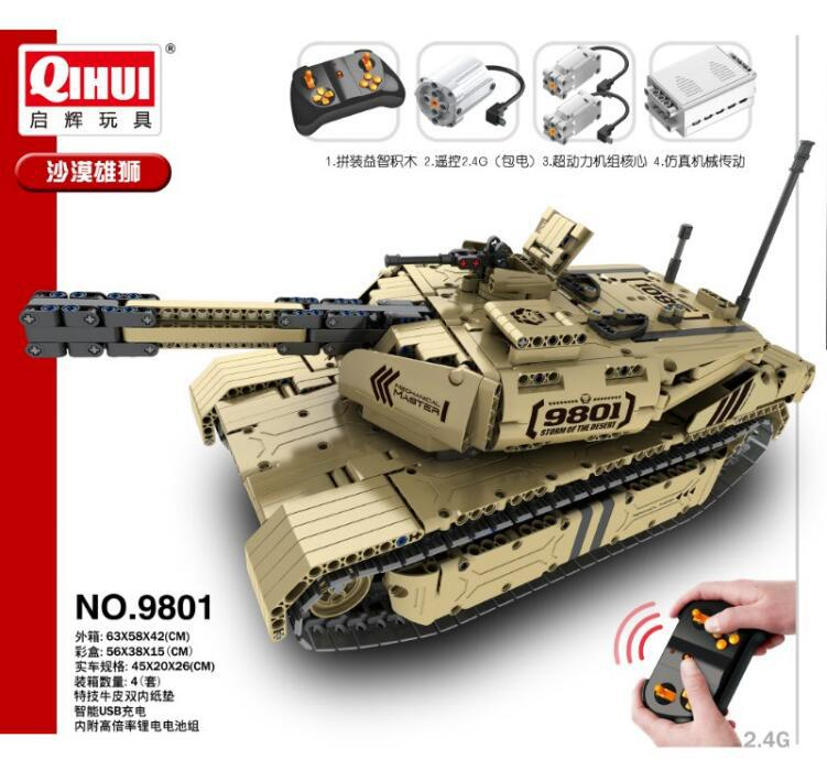 Image 3 - Military Series RC M1A2 Tank 50M Distance Can Rotate Launch Building Block Brick Toys Compatible with LeSET Technic-in Blocks from Toys & Hobbies