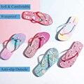 Ataiwee Girls Flip Flop Sandals - Kids Slide Shoes Printed Bow Thong Poolside Pink for Little Kid/Big Kid.