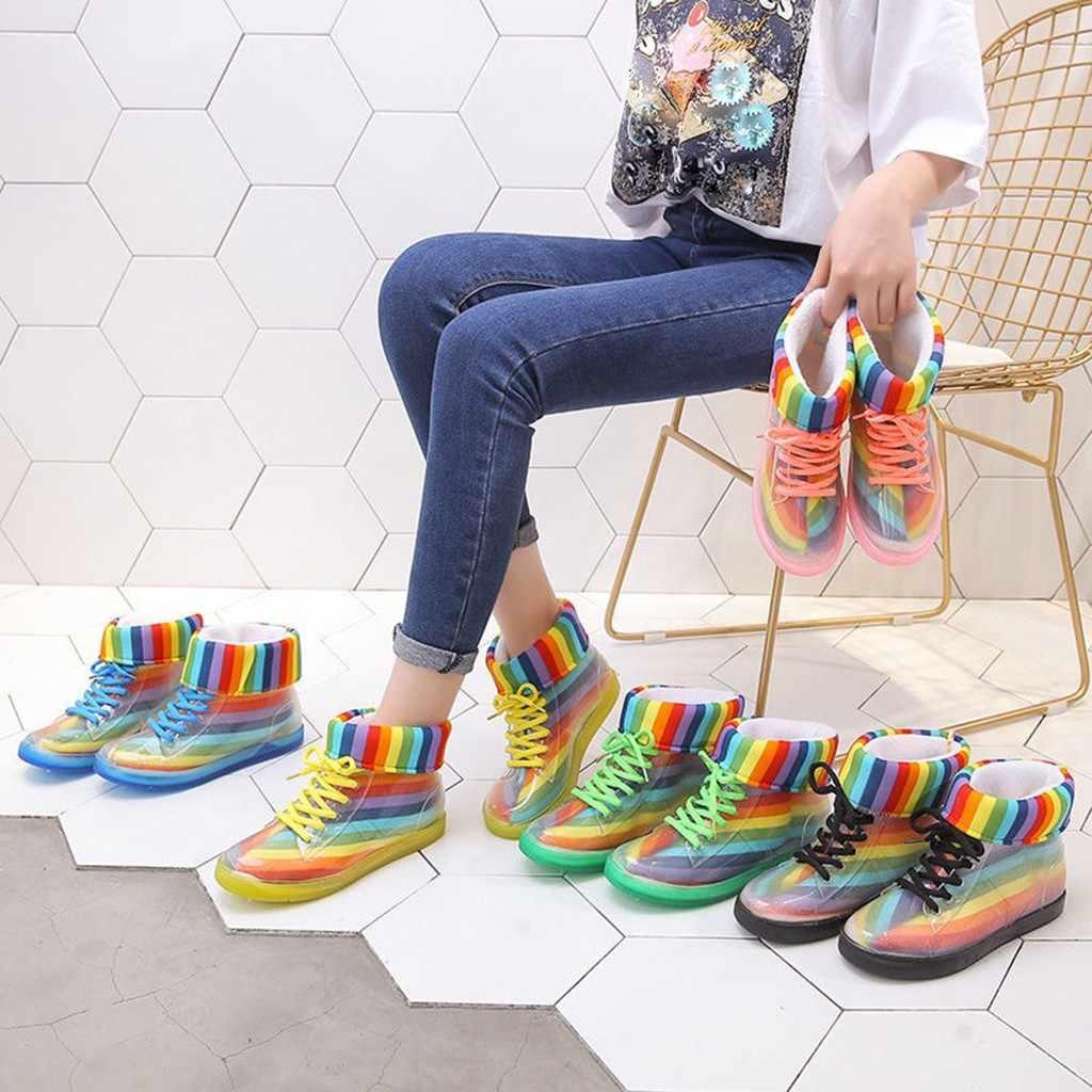 Vrouwen Regenboog Enkel Regen Laarzen Verwijderbare Cover Platform Lace Up Pu Waterdicht Motorfiets Kleurrijke Enkellaars Vrouw Schoenen