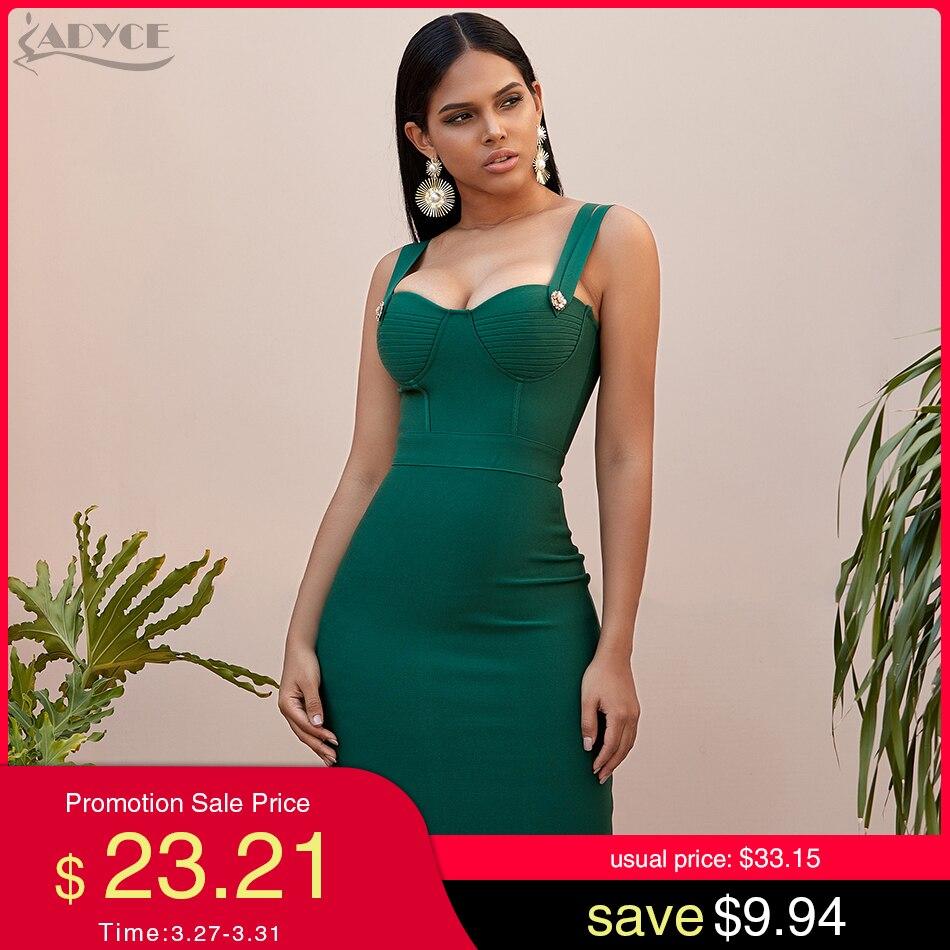Adyce 2020 New Summer Green Bandage Dress Women Sexy Sleeveless Spaghetti Strap Red Club Celebrity Evening Party Dress Vestidos