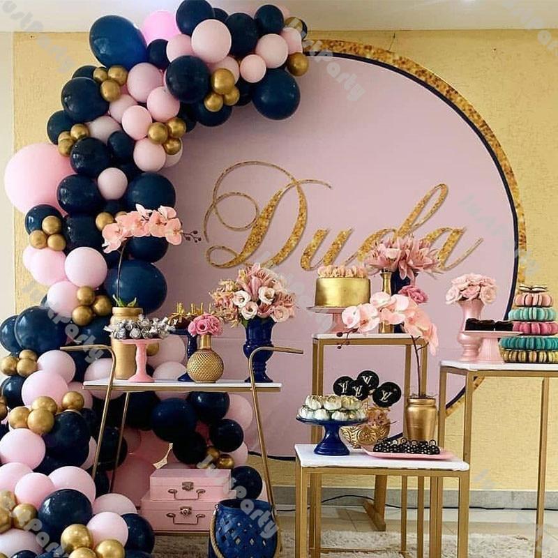 121pcs Matte Navy Blue Balloon Arch Wedding Decorations Gender Reveal Baby Shower Birthday Party Decor Pink Gold Ballon Garland