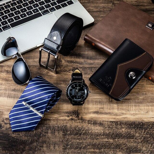 Combine  Luxury Suit 6pes; Watches Belt Necktie Wallet Sunglass  2