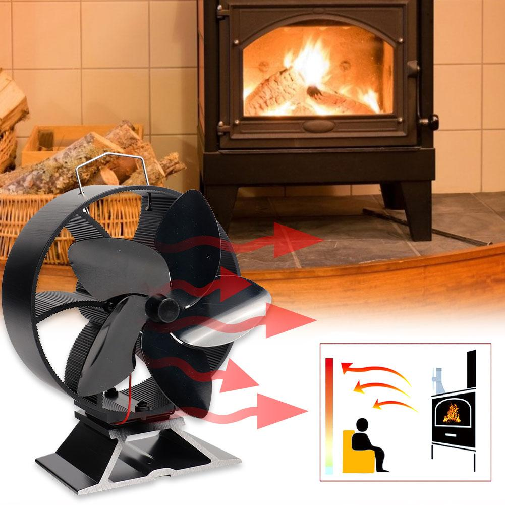 2020 Newest Mini Heat Powered Stove Fireplace Fan Intelligent Energy Saving Heat Powered 5 Blades Fan No Electricity Consumption