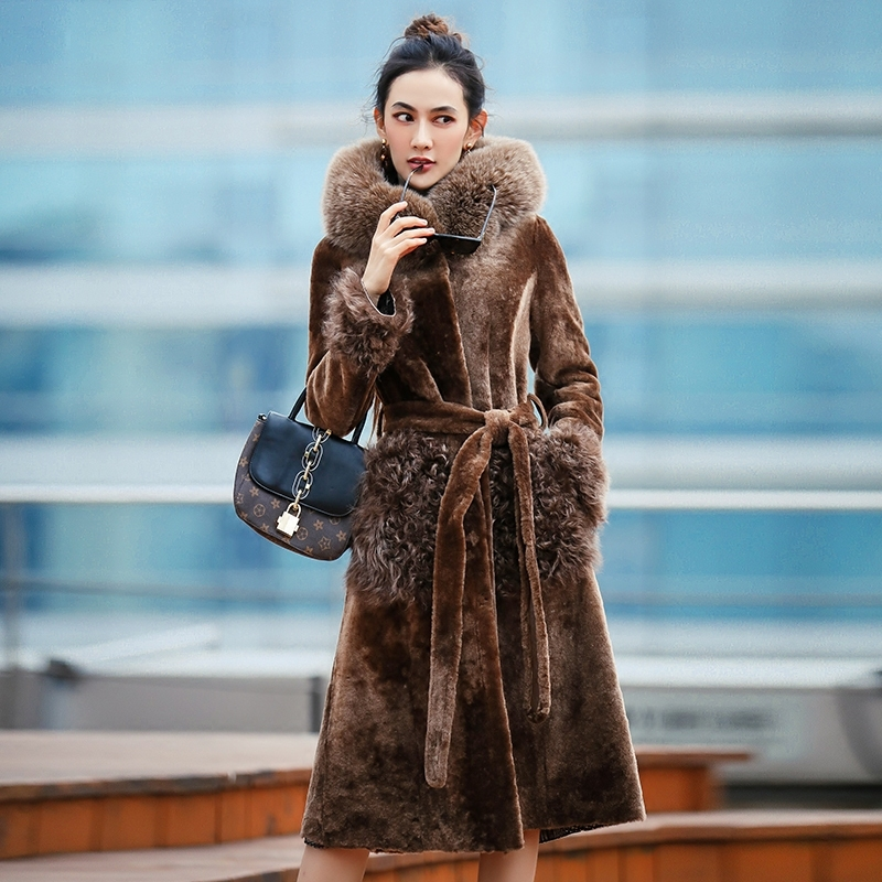 Faced Double Fur Coat Female Fox Fur Collar Natural Sheep Shearling Fur Winter Jacket Women Genuine Leather Jacket MY