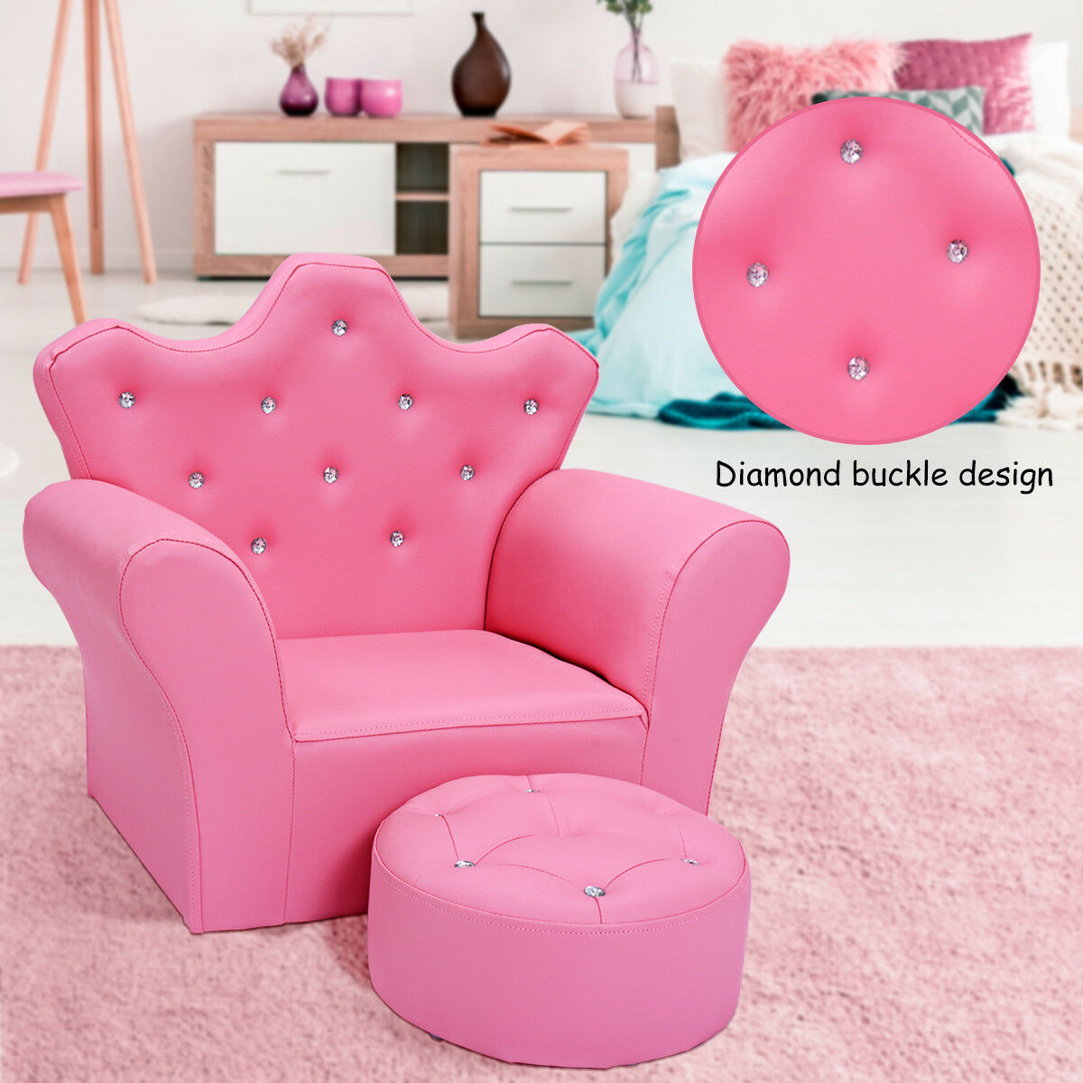 Pink Kids Sofa Armrest Chair Couch Child Girl Toddler Birthday Gift w/ Ottoman
